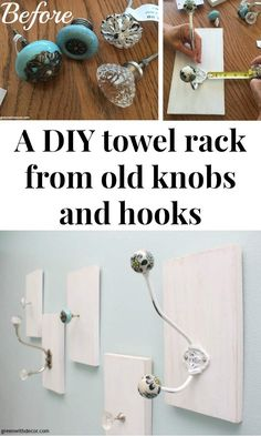 How to make a DIY towel rack from old knobs and hooks. What a great idea for those antique hooks and knobs, plus a way to use up the scrap wood pile!   DIY bathroom   ideas for towel racks   doorknob DIY   easy DIY   painting projects   easy woodworking DIY projects