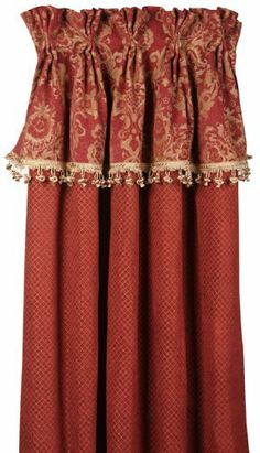 Bacara 20 x 84 Rich Red and Gold Curtain Panel by Jennifer Taylor. $130.58. Imported. Dry clean. 4 inch hem. Hooks included. Heavy brocade. Baroque opulence and regal luxury merge in this collection luxurious chenille damask, crushed velvet and faux shantung silk fabrics. A color palette of bold and regal combinations Bacara collection entices the senses. European styling of plush velvety textures, silken sheen and fabulous trims.