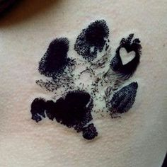 How to get a memorial tattoo & matching cremation urn - puppy paw print tattoo #TattooIdeasWatercolor