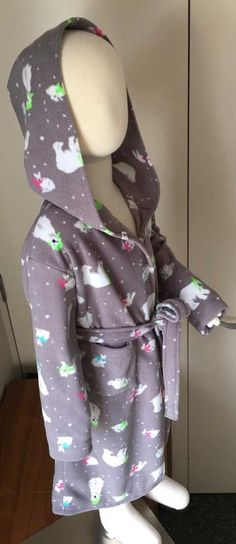 Bathrobe, make it in polar fleece or sweat shirting, for cold winter nights or to pop on after a summer swim. An e-pattern by SewNZ. Sewing Patterns For Kids, Baby Patterns, Kids Robes, Minky Fabric, Polar Fleece, Keep Warm, 6 Years, 12 Months, Size 12