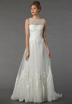 A-line gown features an illusion neckline with a natural waist in silk organza and beaded embroidery | Tony Ward for Kleinfeld | https://www.theknot.com/fashion/violetta-tony-ward-for-kleinfeld-wedding-dress