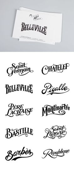 Parisian district stamps for the clothes brand Bleu de Paname by Tyrsa (the work of Alexis Taieb). Very nice lettering! Vintage Fonts, Vintage Typography, Typography Letters, Graphic Design Typography, Lettering Design, French Typography, Vintage Type, Schriften Download, Web Design