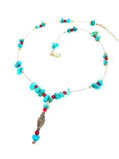 A personal favorite from my Etsy shop https://www.etsy.com/listing/508253094/blue-beaded-y-necklacemagnesite-y