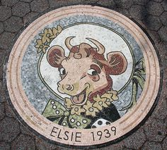 E is for Elsie the Cow (mosaic)