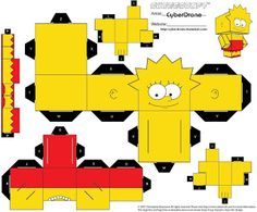 PaperToy_The Simpsons - Lisa Simpson Lisa Simpsons, Simpsons Party, Simpsons Cartoon, Diy Origami, Origami Paper, Box Template Printable, Simpsons Drawings, Paper Folding Crafts, Homer Simpson