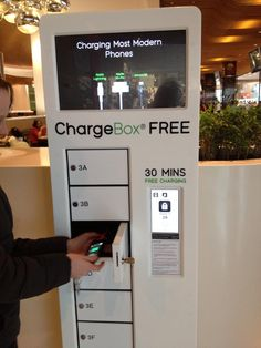 It's a charging station in the shopping centre and its free! You lock your phone in the little locker and take the key and come back and pick it up after! How convenient!