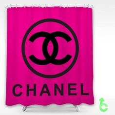Chanel big black logo circle pink surface Shower Curtain