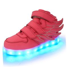 SLEVEL Kid Boy Girl Upgraded USB Charging LED Light Sport Shoes Flashing Sneakers(36Pink9)