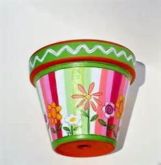 hand painted flower pots - Bing Images
