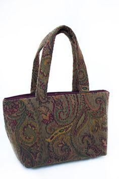 Plum colored paisley Karleigh handbag. by LislynDesigns on Etsy