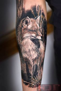 Realistic Fox Sleeve Tattoo - http://giantfreakintattoo.com/realistic-fox-sleeve-tattoo/