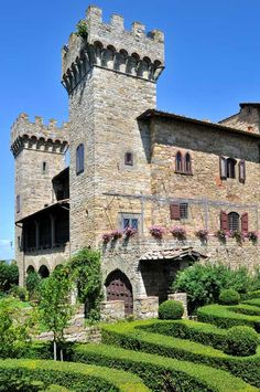 VILLA CASTELLO DI PANZANO, Panzano in Chianti, Florence, Italy - This lovely and unique Chianti estate dates its origins to the 1300's when it was part of the medieval Castle of Panzano. It was transformed into a classical villa in the late 1800's while retaining many of the original architectural elements. Located on the outskirts of the charming Chianti hilltop town of Panzano one can easily walk to the main piazza of the village.
