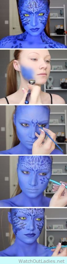Amazing Avatar blue make up tutorial for halloween - http://watchoutladies.net/hollywood-movie-makeup-for-halloween-tutorial/