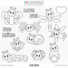 Love Bugs Digital Stamps includes: butterfly, bee, ladybug, mosquito, caterpillar, spider, snail, firefly, dragonfly, hearts and sentiments.