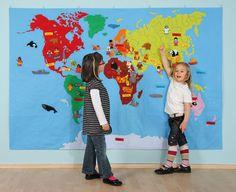 Mapa świata + 230 motywów filcowych