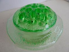 ANTIQUE DEPRESSION GLASS  GREEN FLOWER FROG BY L.E.SMITH CO.