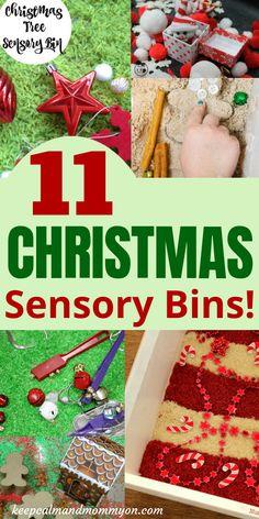 Christmas Sensory Bin, Christmas Sensory Bins for Toddlers, Sensory Activities for Toddlers and Preschoolers Christmas Activities For Toddlers, Sensory Activities Toddlers, Preschool Christmas, Baby Sensory, Sensory Bins, Christmas Themes, Christmas Crafts, Sensory Table, Sensory Play
