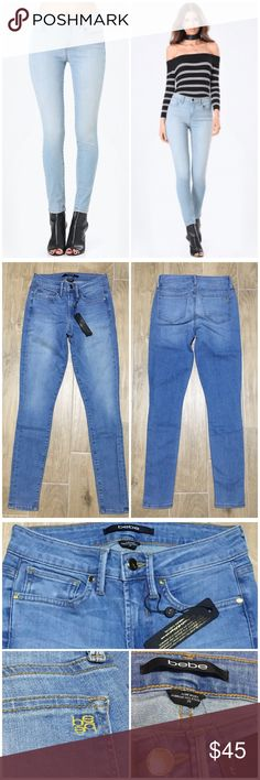 "NWT Sz 25 bebe oceanic high waisted skinny jeans NO TRADES PRICE FIRM  Oceanic high waisted skinny jeans  Condition: NEW WITH TAGS, in pristine condition Brand: Bebe Size: 25 Color: blue Measurements approx: waist 12"", front rise 8.5"", back rise 12"", inseam 29"" bebe Jeans Skinny"