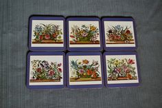 Pimpernel Cork Coasters - Flowering Bouquets - Set of 6 - Made in England by RockyandPablo on Etsy