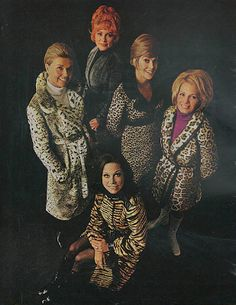 Doris Day, Mary Tyler Moore, Angie Dickinson, Amanda Blake and Jayne Meadows wearing lovely fake fur coats - it was a 1974 ad photo for Fund For Animals, a group against the wearing of animal furs.