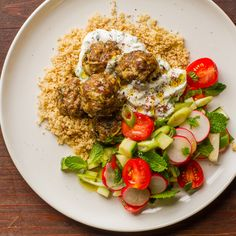 Deliciously fragrant lamb koftas with couscous, salad and sumac yoghurt dressing. Couscous Salad, Cobb Salad, Lamb Koftas, Onion Chicken, Cherry Tomatoes, Healthy Recipes, Healthy Food, I Foods, Dressing