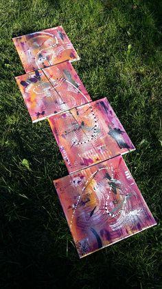 triptyque multicolore composé de 4 toiles 40x40 soit une dimension totale de 40x160