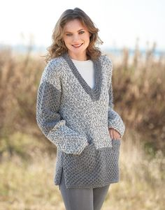 Pull long Big Merino Natur Catalogue n° 79 Adulte (Katia) Crochet Poncho, Knit Crochet, Laine Katia, Pull Long, Wool Fabric, Long Sweaters, Crochet Clothes, Knitwear, Knitting Patterns