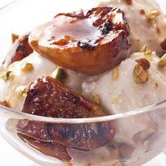 Grilled Fig and Orange Blossom Sundaes Recipe Desserts with honey, water, orange flower water, figs, vanilla ice cream, pistachios