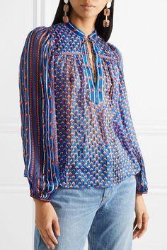 9880810a51cf75 ULLA JOHNSON elegant Constance printed silk-jacquard blouse