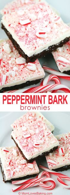 Easy Peppermint Bark Brownies. Just like the candy but it's a brownie. #chocolatemint #candycanes