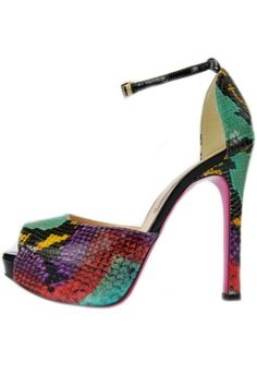 An Italian made multi-colored snakeskin stiletto by Luciano Padovan with a peep-toe, an ankle strap, a pink sole, a 1.5 inch platform and a 5 inch heel. Turn it up to ten in these stylish shoes. Pair them with dark skinny jeans and blousy tank or a bodycon dress for a captivating style for an evening out.   Multi-Colored Snakeskin Stiletto  by Luciano Padovan. Shoes - Pumps & Heels - Open Toe Shoes - Pumps & Heels - Platform Shoes - Pumps & Heels - High Heel South Carolina