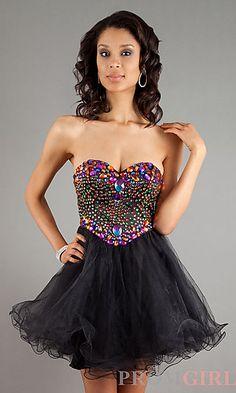 Embellished Short Sweetheart  Dress at PromGirl.com