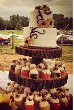 Country style wedding cake and cupcakes
