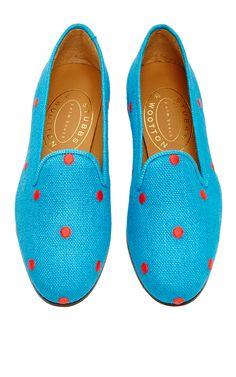 Turquoise Linen Polka Slipper by Stubbs & Wootton for Preorder on Moda Operandi