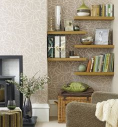 Alcove storage with floating shelves Alcove Storage, Alcove Shelving, Room Shelves, Shelving Ideas, Storage Ideas, Corner Shelving, Bedroom Storage, Bedroom Wall, Master Bedroom