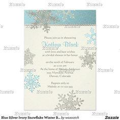 Blue Silver Ivory Snowflake Winter Bridal Shower