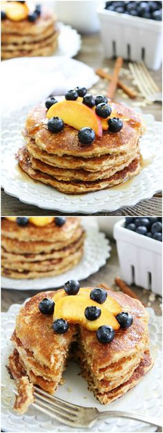 Cinnamon Oatmeal Pancake Recipe on twopeasandtheirpod.com These healthy and delicious pancakes are easy to make and they freeze beautifully! Make a stack today!