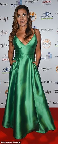 Green with envy: The duo, who play Michelle Connor and Eva Price respectively, looked phenomenal with Kym, opting for a plunging green gown with an eye-popping peek of cleavage while Gemma, left very little to the imagination in her braless state Michelle Connor, Gemma Merna, Catherine Tyldesley, Kym Marsh, Tight Dresses, Formal Dresses, Lavish Alice, Green Gown, Cheryl Cole