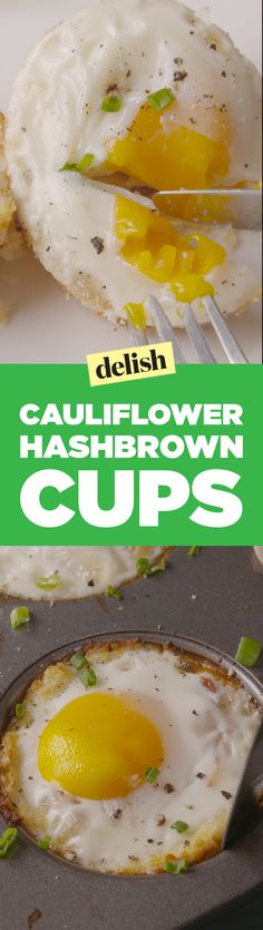 Cauliflower hashbrown cups are going to be your new go-to breakfast. Get them on Delish.com.