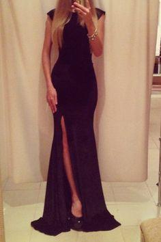 Cute and Classy Pure Black Long Dress