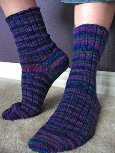 Ravelry: Basic Ribbed Socks pattern by Kate Atherley, Free Pattern Fingering wpi) ? 32 stitches = 4 inches in Rib, Unstretched US - mm 370 yards m) Knitting Loom Socks, Knitted Socks Free Pattern, Crochet Socks, Easy Knitting, Knit Or Crochet, Baby Knitting Patterns, Knitting Stitches, Knit Socks, Socks Men