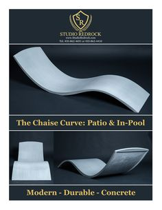 Camping Discover The Chaise Curve:A Luxury Polished Concrete Pool Lounge Chair. A contemporary concrete lounge chair crafted for your in-pool or patio space Backyard Pool Designs, Swimming Pools Backyard, Swimming Pool Designs, Pool Landscaping, Pool Lounge Chairs, Outdoor Lounge, Outdoor Pool, Outdoor Chairs, Loom Chair