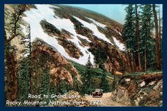 Road to Grand Lake in Rocky Mountain National Park  - 1925 Postcard.  Printed on cotton.  Ready to sew. Single 4x6 block $4.95. Set of 4 - 4x6 blocks with a free wall hanging pattern $17.95
