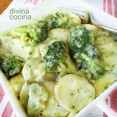 Brócoli a la crema con patatas Esta receta te puede servir de guarnición o de entrante. Prueba también con coliflor, judías verdes o coles de Bruselas.