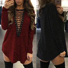 Fashion Long Sleeve Lace Up Tunic Dress