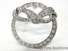 Vintage Ultra Fine 2.0ctw Diamond 14k White Gold Art Deco Circle Pin Pendant