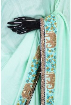 Pure Saree With Readymade Blouse-Mint Green-Resham Thread Work-WJ1675