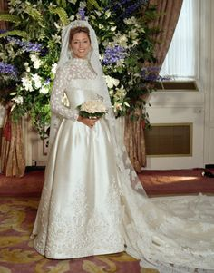 Princess Marie-Chantal of Greece wore a Valentino gown for her wedding to Prince Pavlos in July 1995.