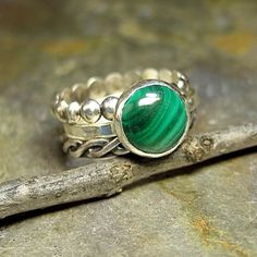 Sterling Silver Ring with Malachite #jewellery #jewelry