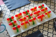 Candy Sushi: Gummy fish, Fruit by the Foot, and prepackaged Rice Krispy Treats